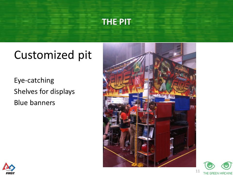 11 Customized pit Eye-catching Shelves for displays Blue banners THE PIT