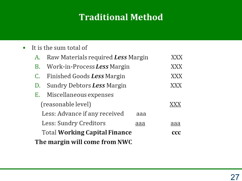 Traditional Method It is the sum total of A.Raw Materials required Less Margin XXX B.Work-in-Process Less Margin XXX C.Finished Goods Less Margin XXX