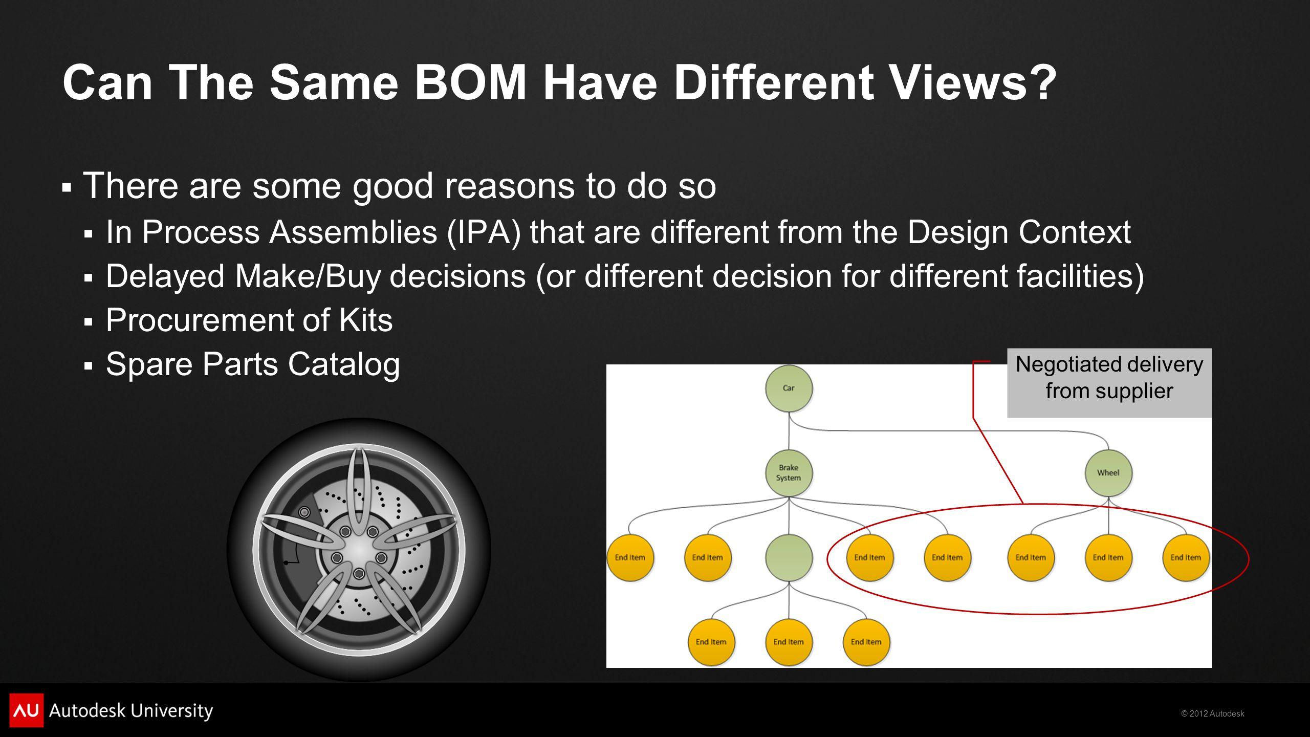 © 2012 Autodesk Can The Same BOM Have Different Views? There are some good reasons to do so In Process Assemblies (IPA) that are different from the De