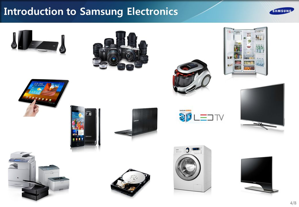 Introduction to Samsung Electronics, continued 5/8 Samsung is a market leader: