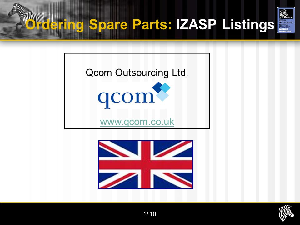 1/10 Ordering Spare Parts: IZASP Listings Qcom Outsourcing Ltd. www.qcom.co.uk