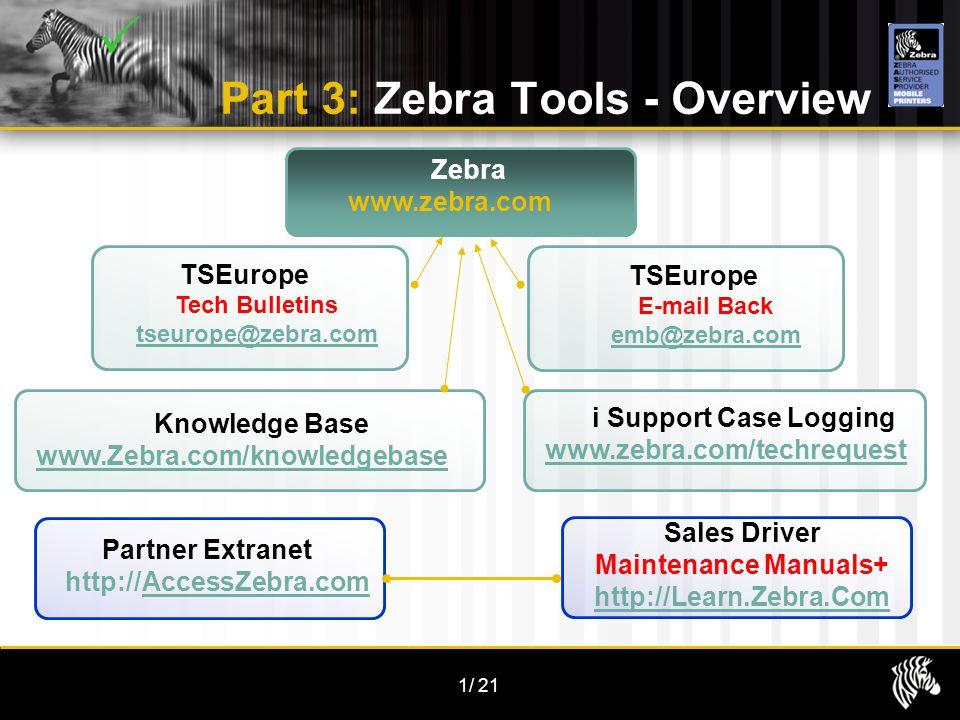 1/21 Part 3: Zebra Tools - Overview TSEurope Tech Bulletins tseurope@zebra.com Partner Extranet http://AccessZebra.comAccessZebra.com Zebra www.zebra.com Sales Driver Maintenance Manuals+ http://Learn.Zebra.Com Knowledge Base www.Zebra.com/knowledgebase i Support Case Logging www.zebra.com/techrequest TSEurope E-mail Back emb@zebra.com