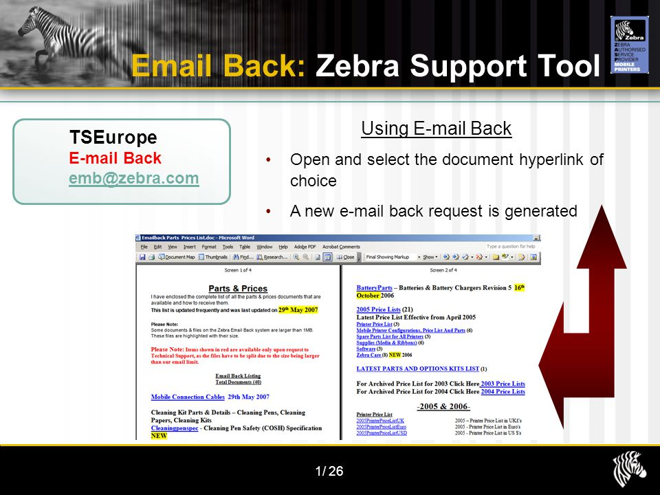 1/26 TSEurope E-mail Back emb@zebra.com Email Back: Zebra Support Tool Using E-mail Back Open and select the document hyperlink of choice A new e-mail back request is generated