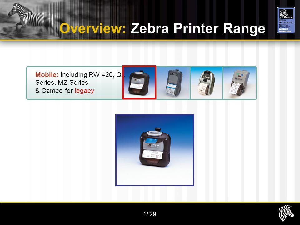 1/29 Overview: Zebra Printer Range Mobile: including RW 420, QL Series, MZ Series & Cameo for legacy