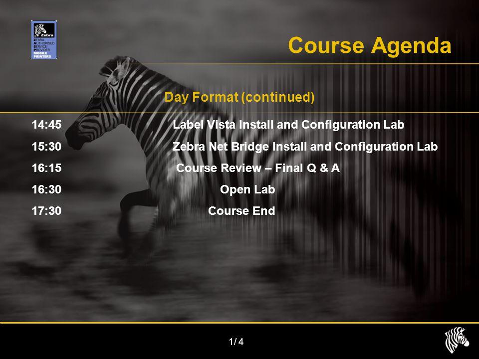 1/4 Course Agenda Day Format (continued) 14:45Label Vista Install and Configuration Lab 15:30Zebra Net Bridge Install and Configuration Lab 16:15 Cour