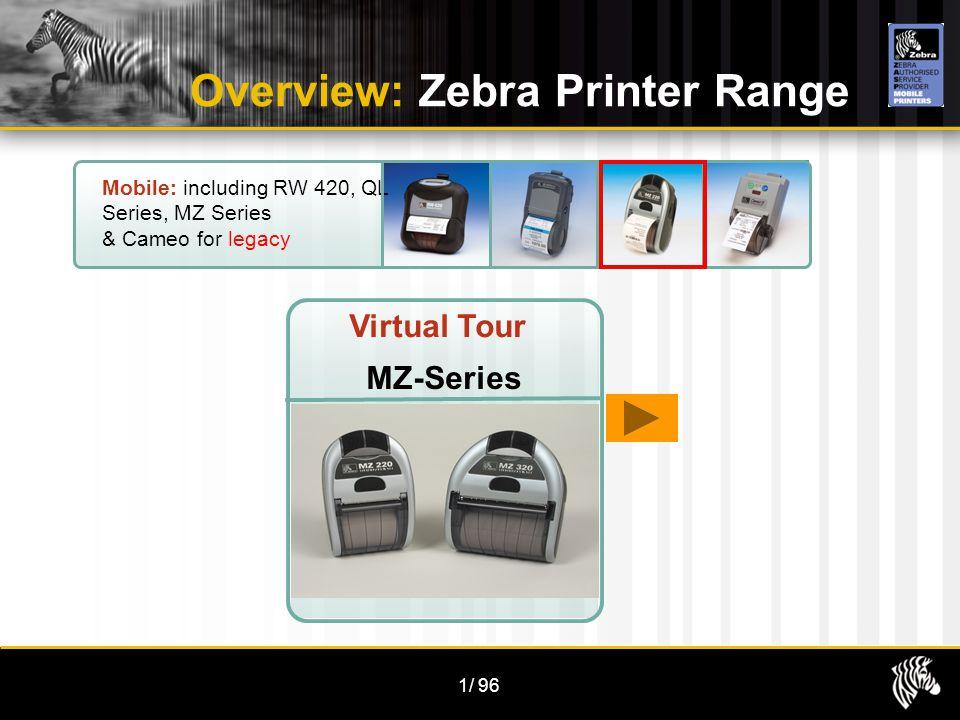 1/96 Overview: Zebra Printer Range Mobile: including RW 420, QL Series, MZ Series & Cameo for legacy Virtual Tour MZ-Series