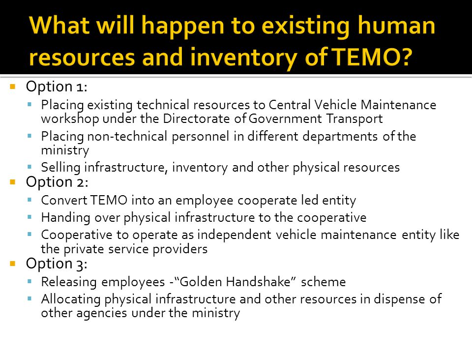 Option 1: Placing existing technical resources to Central Vehicle Maintenance workshop under the Directorate of Government Transport Placing non-technical personnel in different departments of the ministry Selling infrastructure, inventory and other physical resources Option 2: Convert TEMO into an employee cooperate led entity Handing over physical infrastructure to the cooperative Cooperative to operate as independent vehicle maintenance entity like the private service providers Option 3: Releasing employees -Golden Handshake scheme Allocating physical infrastructure and other resources in dispense of other agencies under the ministry