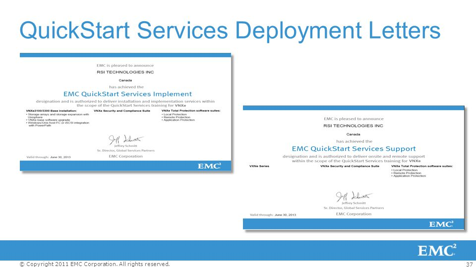 37 © Copyright 2011 EMC Corporation. All rights reserved. QuickStart Services Deployment Letters