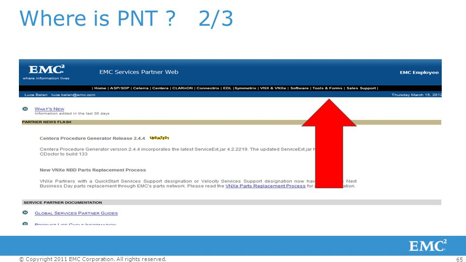 65 © Copyright 2011 EMC Corporation. All rights reserved. Where is PNT ? 2/3