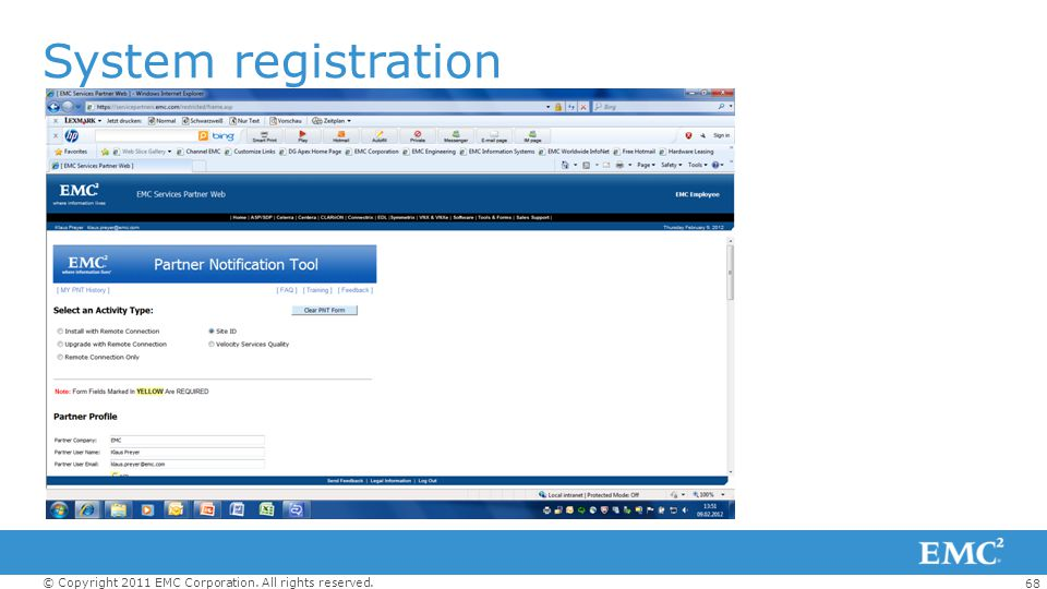 68 © Copyright 2011 EMC Corporation. All rights reserved. PNT Tool System registration