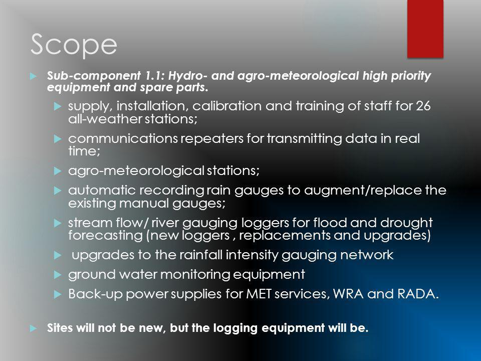Scope S ub-component 1.1: Hydro- and agro-meteorological high priority equipment and spare parts.