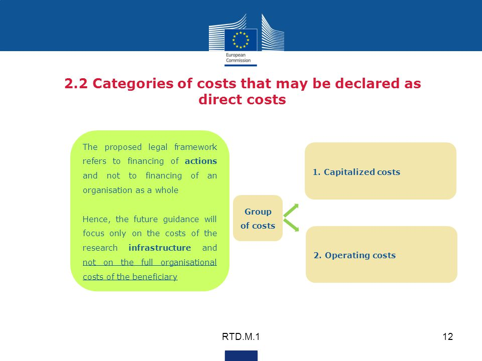 2.2 Categories of costs that may be declared as direct costs The proposed legal framework refers to financing of actions and not to financing of an organisation as a whole Hence, the future guidance will focus only on the costs of the research infrastructure and not on the full organisational costs of the beneficiary RTD.M.112 1.