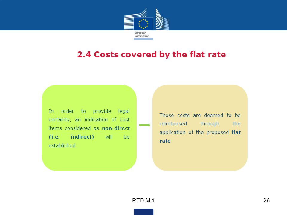 2.4 Costs covered by the flat rate In order to provide legal certainty, an indication of cost items considered as non-direct (i.e.