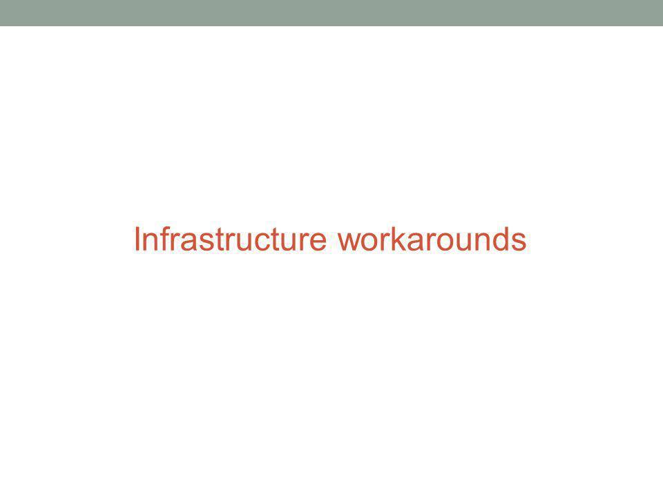 Infrastructure workarounds