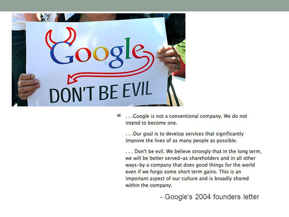 - Googles 2004 founders letter