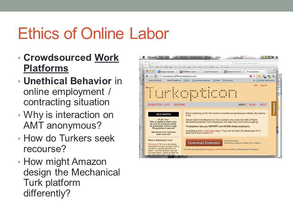 Ethics of Online Labor Crowdsourced Work Platforms Unethical Behavior in online employment / contracting situation Why is interaction on AMT anonymous.