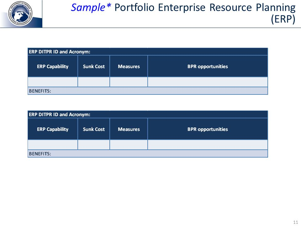 11 Sample* Portfolio Enterprise Resource Planning (ERP)