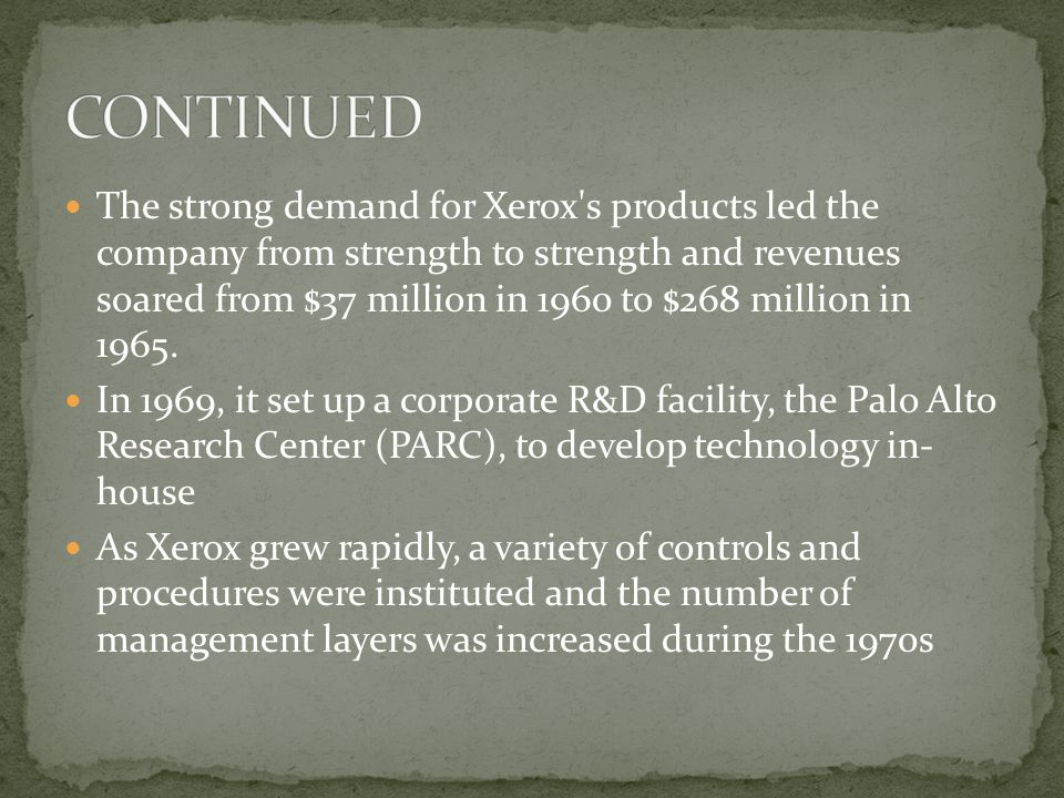 The strong demand for Xerox s products led the company from strength to strength and revenues soared from $37 million in 1960 to $268 million in 1965.