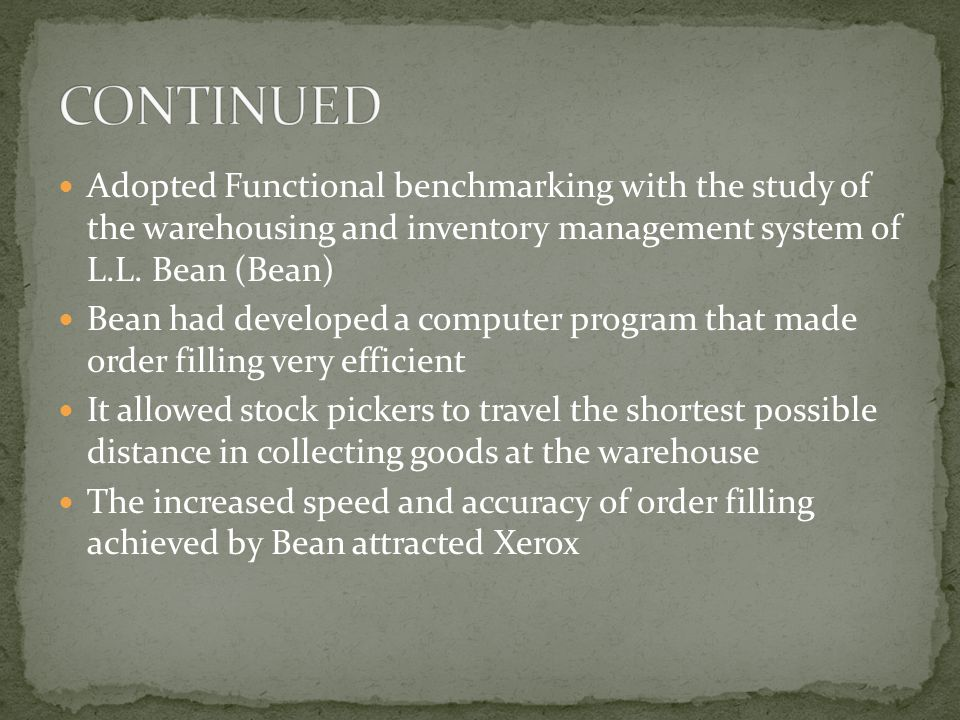 Adopted Functional benchmarking with the study of the warehousing and inventory management system of L.L.