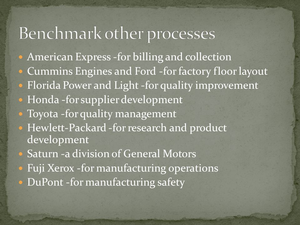 American Express -for billing and collection Cummins Engines and Ford -for factory floor layout Florida Power and Light -for quality improvement Honda -for supplier development Toyota -for quality management Hewlett-Packard -for research and product development Saturn -a division of General Motors Fuji Xerox -for manufacturing operations DuPont -for manufacturing safety