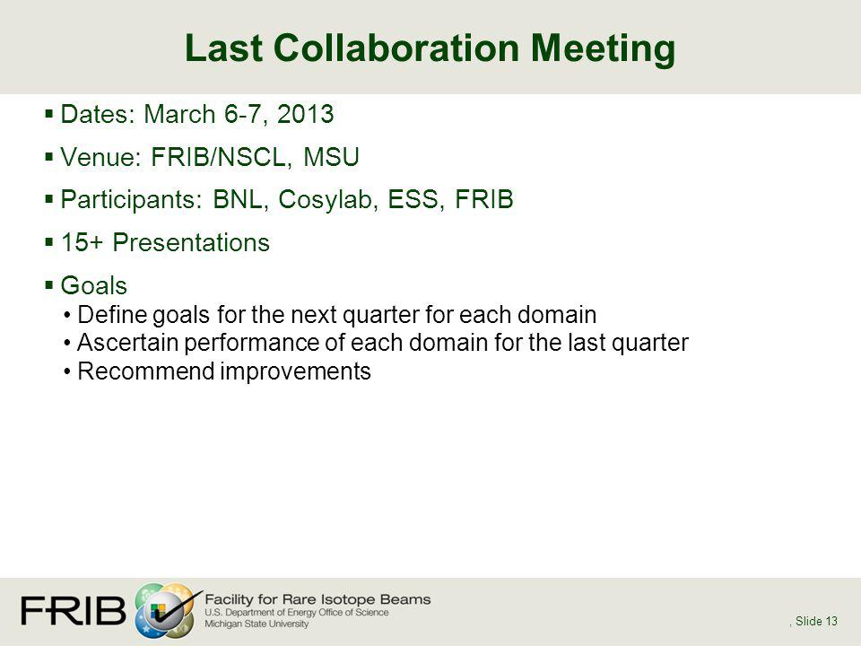 Dates: March 6-7, 2013 Venue: FRIB/NSCL, MSU Participants: BNL, Cosylab, ESS, FRIB 15+ Presentations Goals Define goals for the next quarter for each