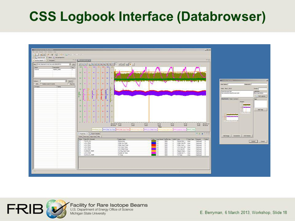 CSS Logbook Interface (Databrowser) E. Berryman, 6 March 2013, Workshop, Slide 18