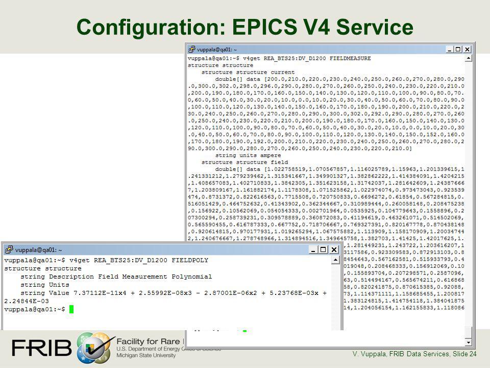 Configuration: EPICS V4 Service V. Vuppala, FRIB Data Services, Slide 24
