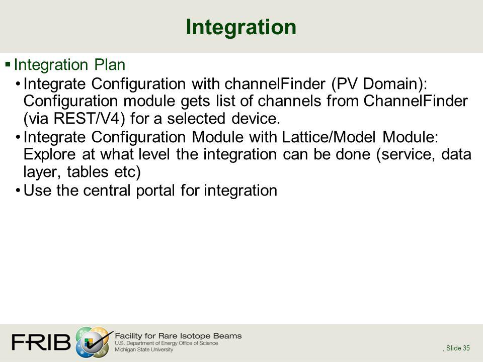 Integration Plan Integrate Configuration with channelFinder (PV Domain): Configuration module gets list of channels from ChannelFinder (via REST/V4) f