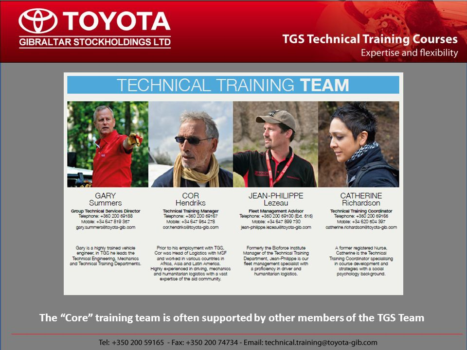 r The Core training team is often supported by other members of the TGS Team