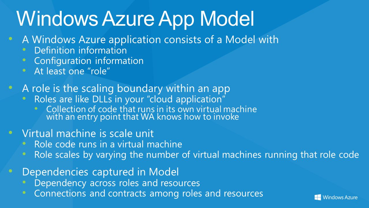 Windows Azure App Model A Windows Azure application consists of a Model with Definition information Configuration information At least one role A role