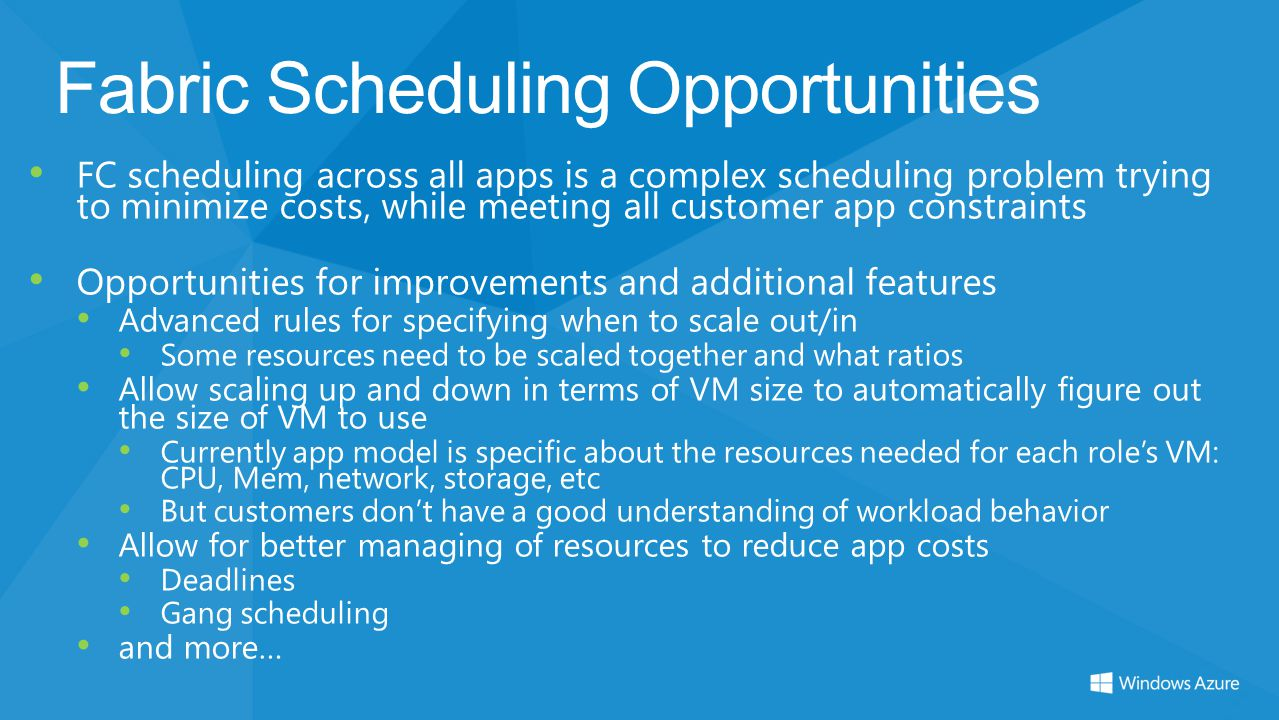 Fabric Scheduling Opportunities FC scheduling across all apps is a complex scheduling problem trying to minimize costs, while meeting all customer app