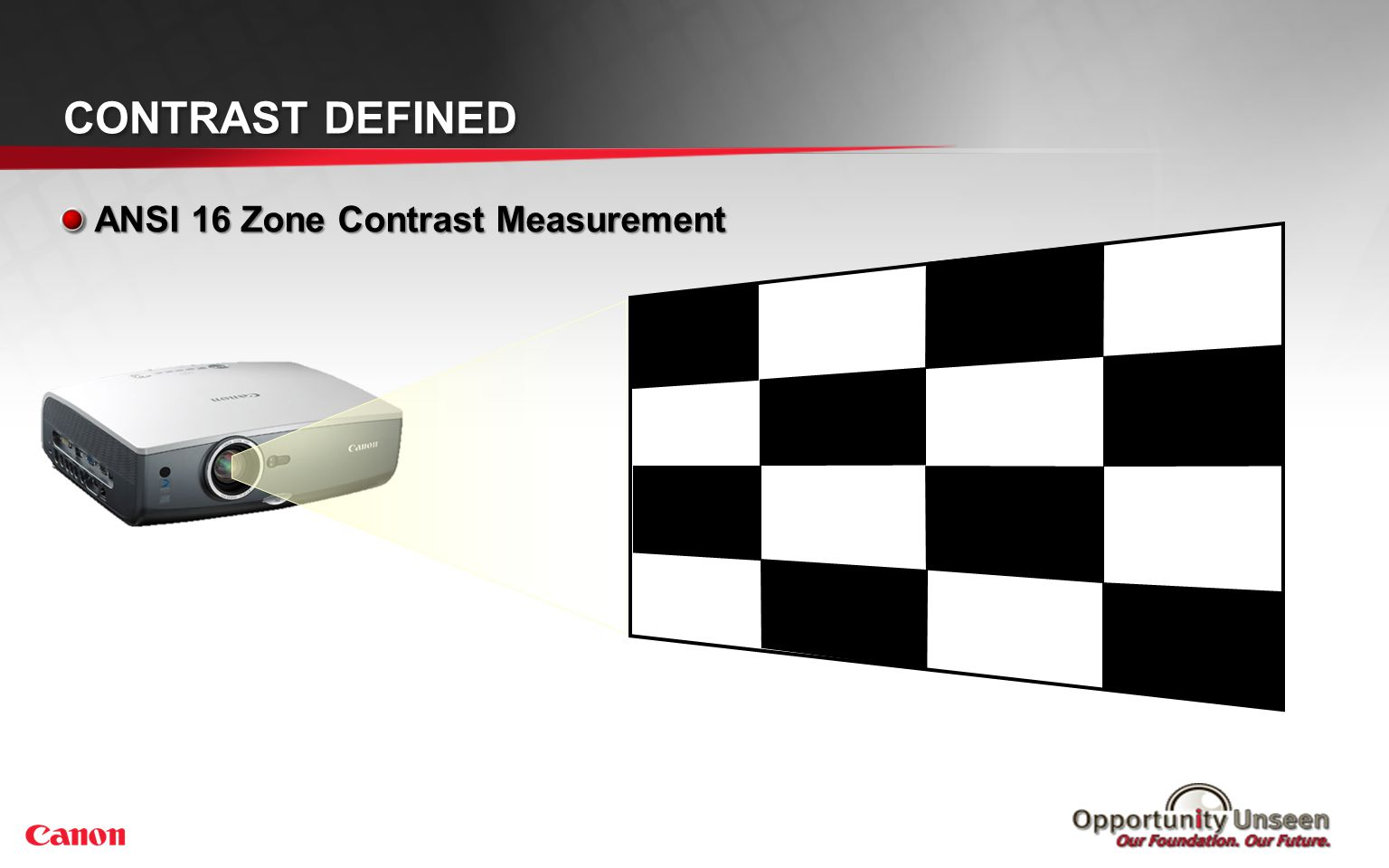 ANSI 16 Zone Contrast Measurement CONTRAST DEFINED