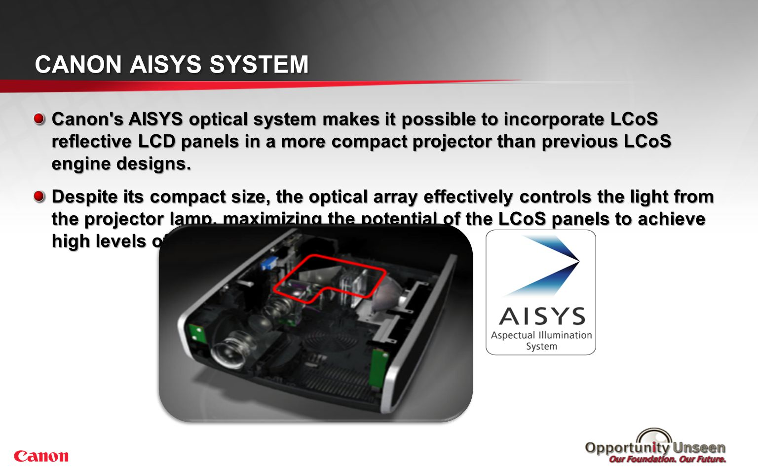 CANON AISYS SYSTEM Canon's AISYS optical system makes it possible to incorporate LCoS reflective LCD panels in a more compact projector than previous