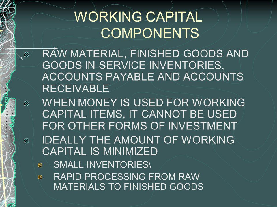 WORKING CAPITAL COMPONENTS RAW MATERIAL, FINISHED GOODS AND GOODS IN SERVICE INVENTORIES, ACCOUNTS PAYABLE AND ACCOUNTS RECEIVABLE WHEN MONEY IS USED FOR WORKING CAPITAL ITEMS, IT CANNOT BE USED FOR OTHER FORMS OF INVESTMENT IDEALLY THE AMOUNT OF WORKING CAPITAL IS MINIMIZED SMALL INVENTORIES\ RAPID PROCESSING FROM RAW MATERIALS TO FINISHED GOODS