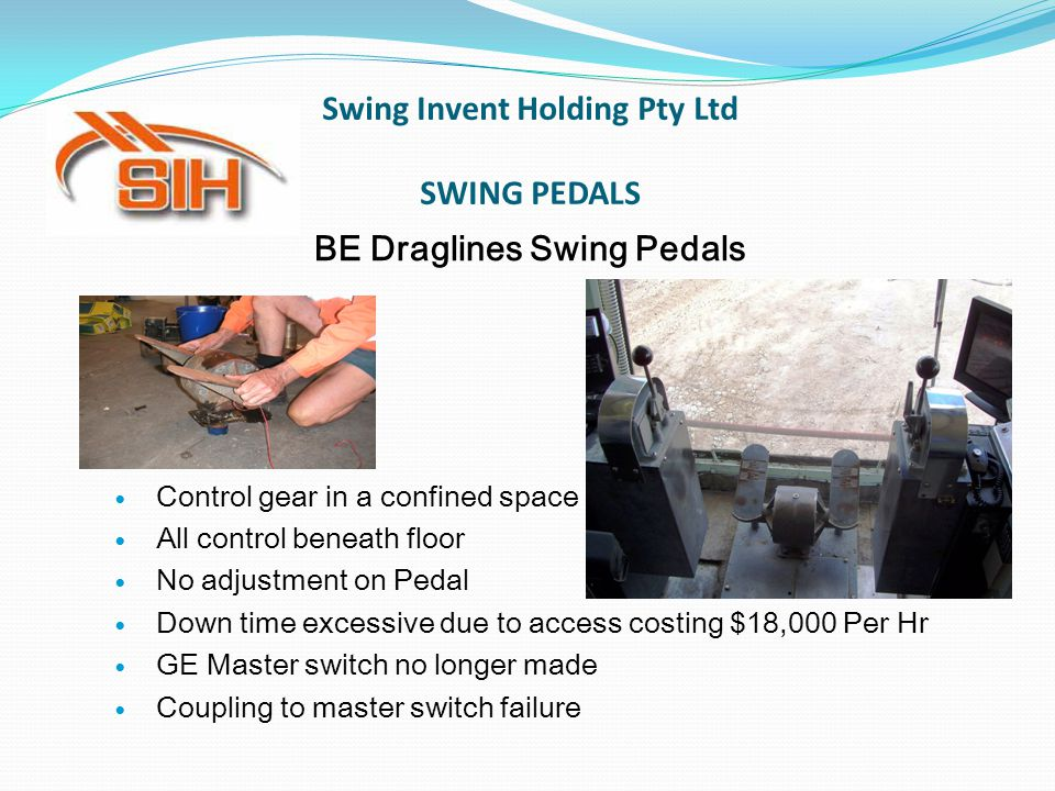 Swing Invent Holding Pty Ltd SWING PEDALS BE Draglines Swing Pedals Control gear in a confined space All control beneath floor No adjustment on Pedal