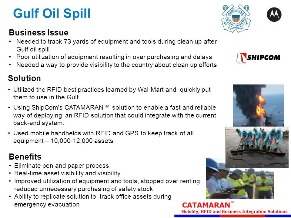 Gulf Oil Spill Business Issue Needed to track 73 yards of equipment and tools during clean up after Gulf oil spill Poor utilization of equipment resul