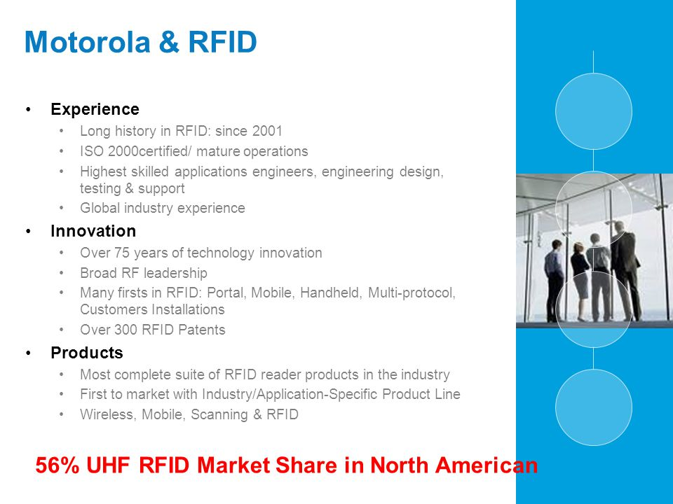 Motorola & RFID Experience Long history in RFID: since 2001 ISO 2000certified/ mature operations Highest skilled applications engineers, engineering d