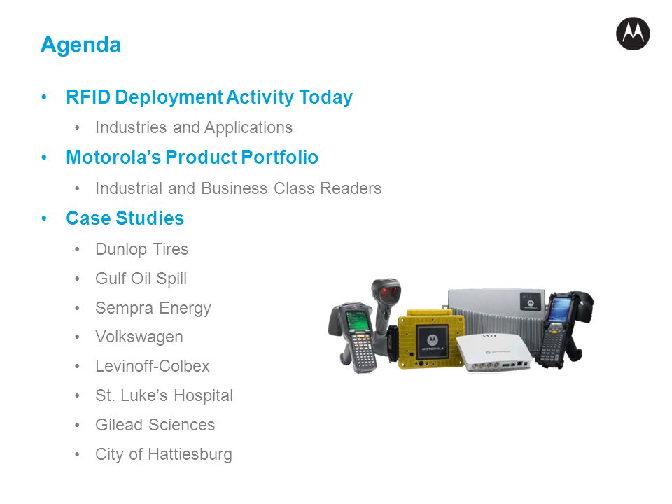 Agenda RFID Deployment Activity Today Industries and Applications Motorolas Product Portfolio Industrial and Business Class Readers Case Studies Dunlo