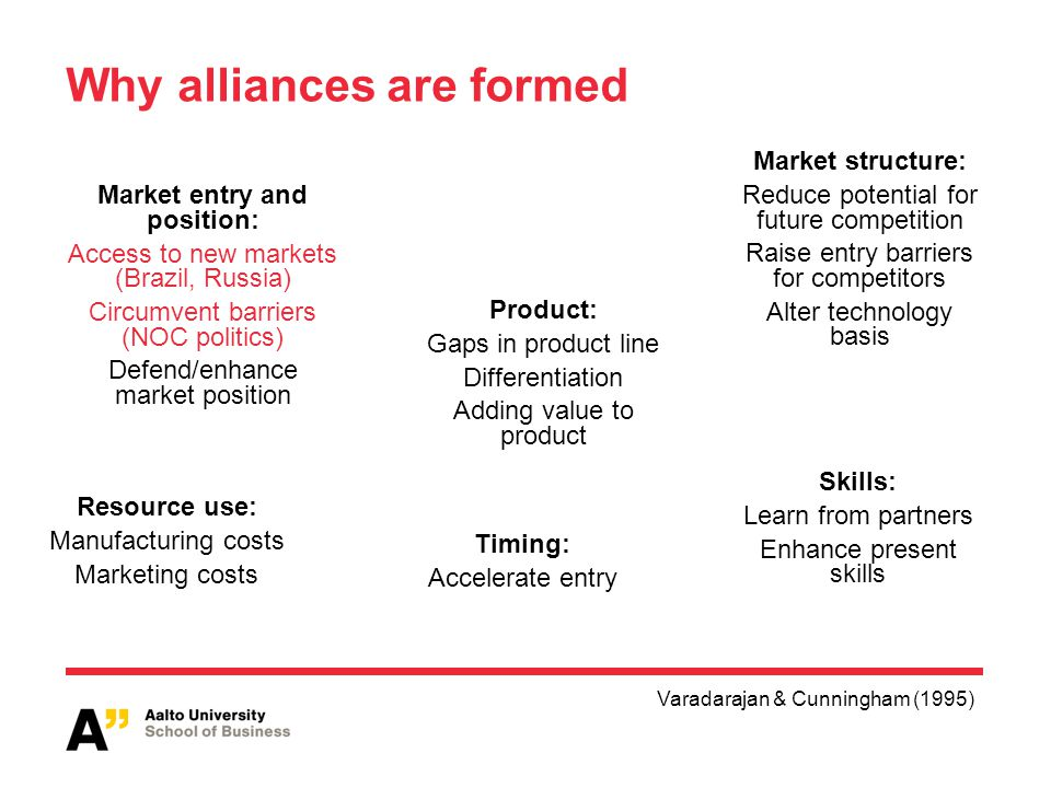 Why alliances are formed Varadarajan & Cunningham (1995) Market entry and position: Access to new markets (Brazil, Russia) Circumvent barriers (NOC politics) Defend/enhance market position Product: Gaps in product line Differentiation Adding value to product Market structure: Reduce potential for future competition Raise entry barriers for competitors Alter technology basis Timing: Accelerate entry Resource use: Manufacturing costs Marketing costs Skills: Learn from partners Enhance present skills