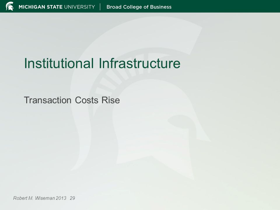 Institutional Infrastructure Transaction Costs Rise Robert M. Wiseman 2013 29