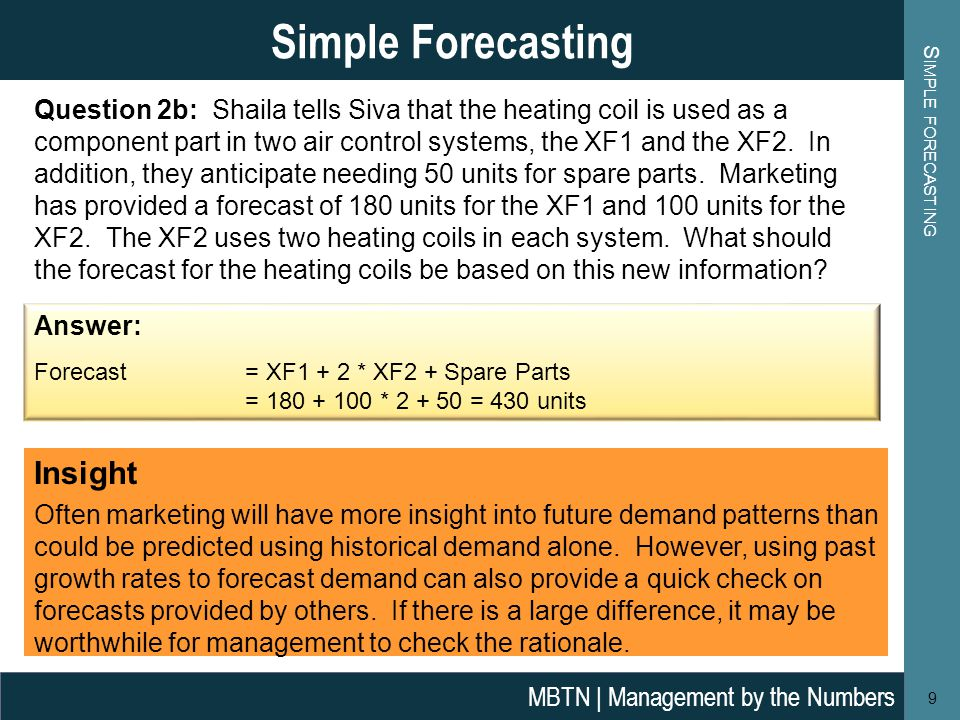 S IMPLE FORECASTING 9 Simple Forecasting MBTN | Management by the Numbers Answer: Forecast = XF1 + 2 * XF2 + Spare Parts = 180 + 100 * 2 + 50 = 430 units Question 2b: Shaila tells Siva that the heating coil is used as a component part in two air control systems, the XF1 and the XF2.