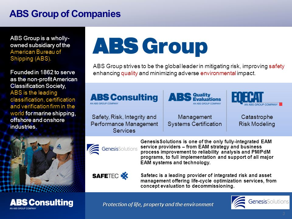 3 ABS Group of Companies Safety, Risk, Integrity and Performance Management Services Protection of life, property and the environment Management Syste
