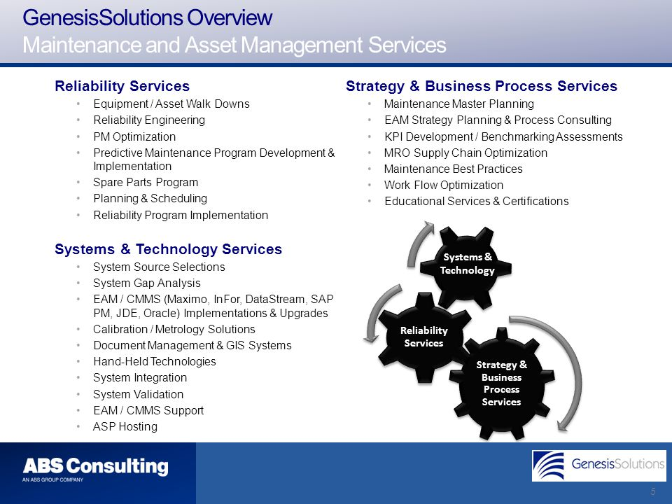 5 Strategy & Business Process Services Reliability Services Equipment / Asset Walk Downs Reliability Engineering PM Optimization Predictive Maintenanc