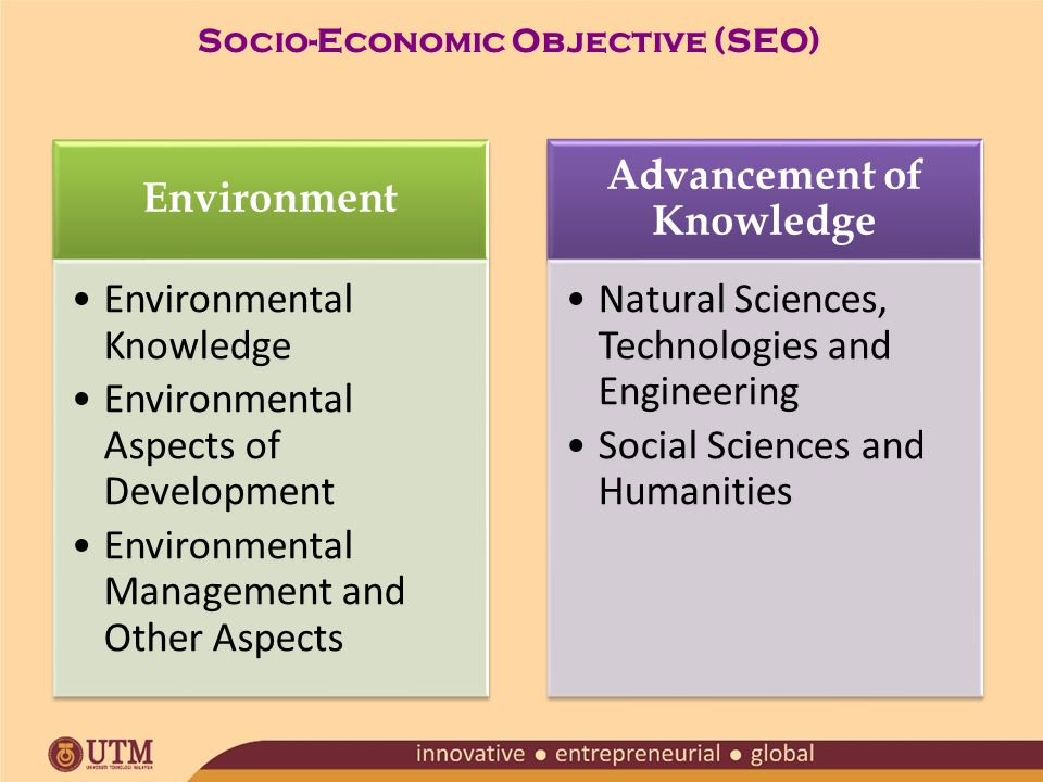 Environment Environmental Knowledge Environmental Aspects of Development Environmental Management and Other Aspects Advancement of Knowledge Natural Sciences, Technologies and Engineering Social Sciences and Humanities Socio-Economic Objective (SEO)