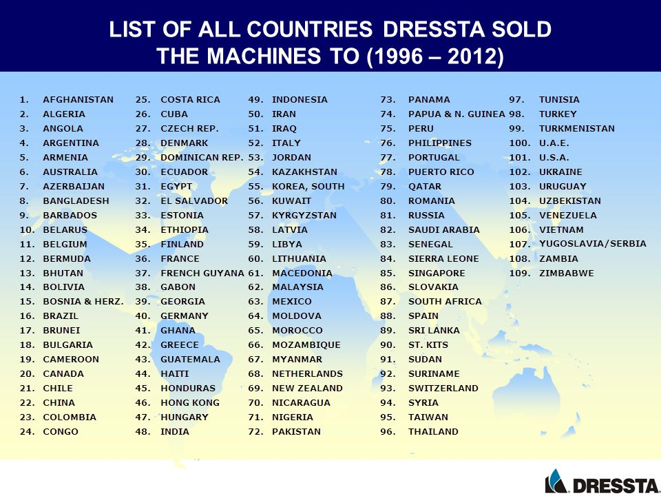 LIST OF ALL COUNTRIES DRESSTA SOLD THE MACHINES TO (1996 – 2012)