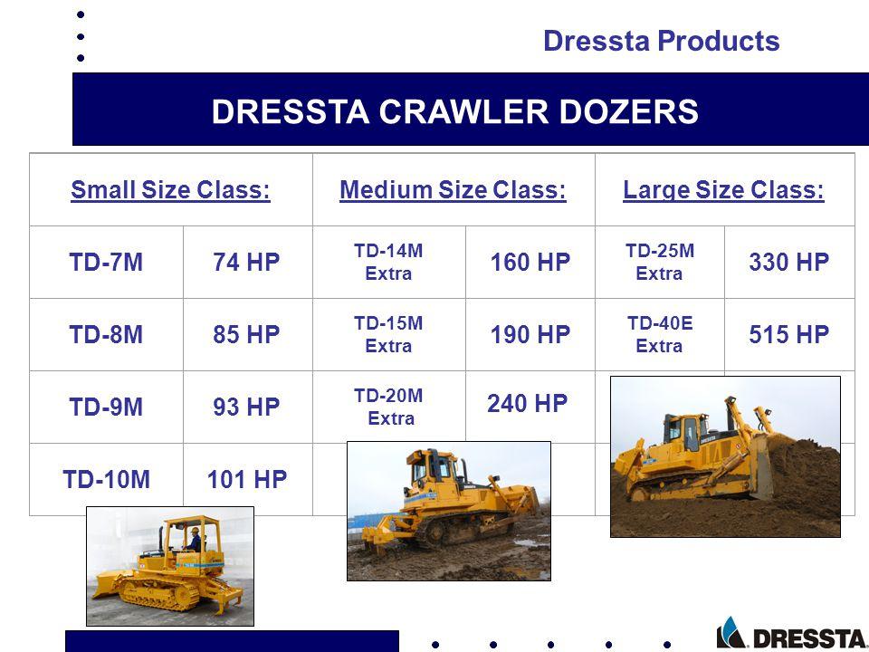 DRESSTA CRAWLER DOZERS Small Size Class:Medium Size Class:Large Size Class: TD-7M74 HP TD-14M Extra 160 HP TD-25M Extra 330 HP TD-8M85 HP TD-15M Extra
