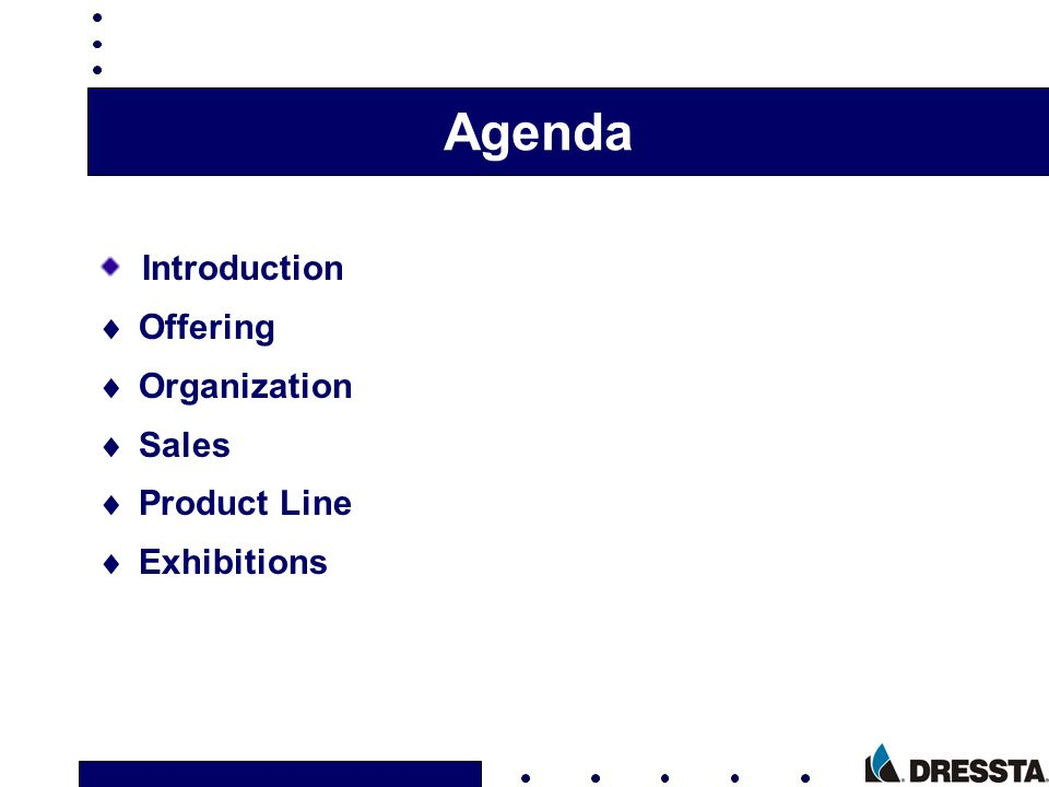 Agenda Introduction Offering Organization Sales Product Line Exhibitions