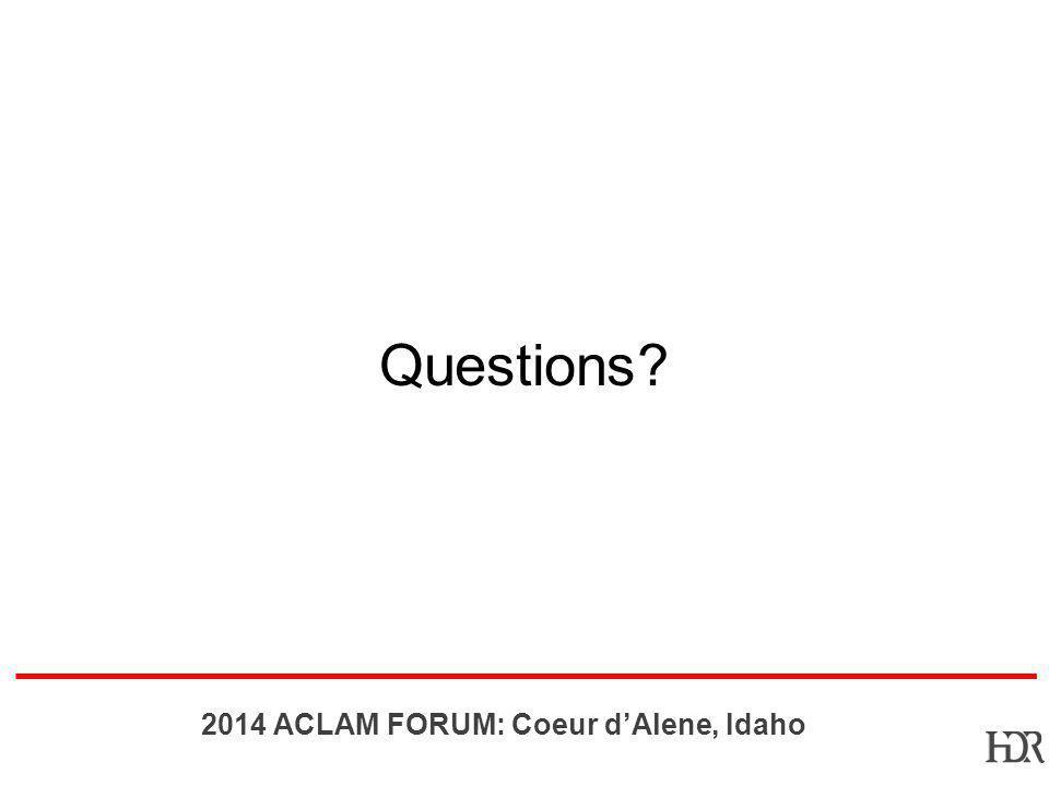 BR-10-1402 2014 ACLAM FORUM: Coeur dAlene, Idaho Questions?