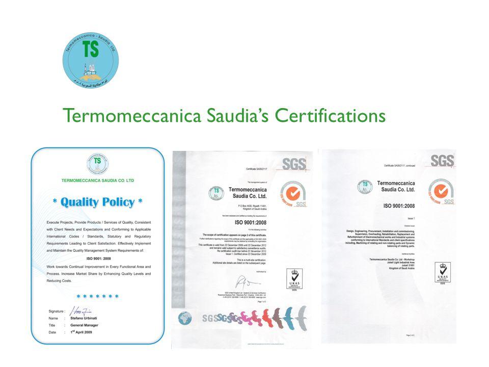 Termomeccanica Saudias Certifications