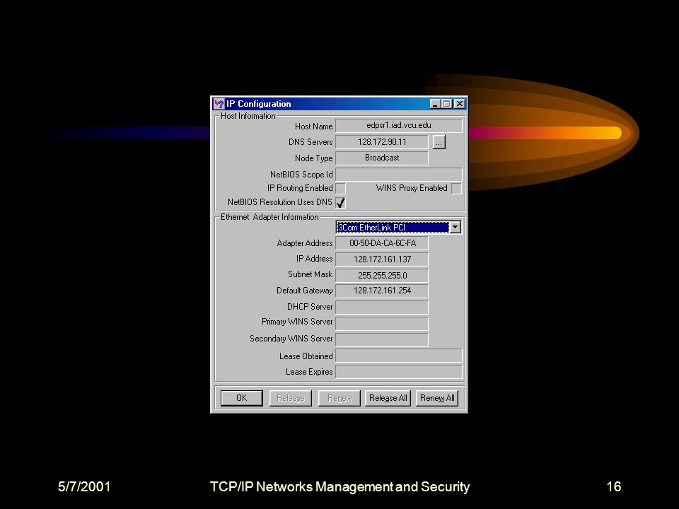 5/7/2001TCP/IP Networks Management and Security16
